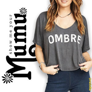 SMYM Billy Bob Chop Top Crop Tee Ombre Spellout